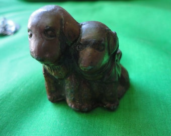 Two Puppies Cast Iron Paper Weight