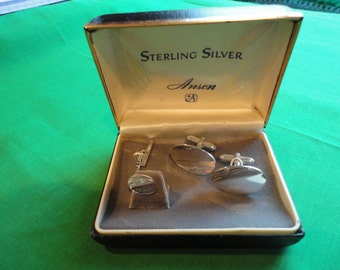 Sterling Cufflinks and Tie Pin