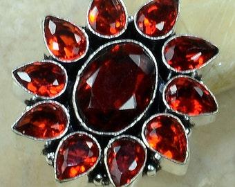 Garnet .925 Sterling Silver Ring Size 7