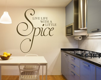 live life with a little spice wall decal kitchen decals kitchen wall decoration