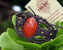 Dark brown Macrame Bracelet red jasper gemstone, macrame handmade jewellery, tribal gypsy style