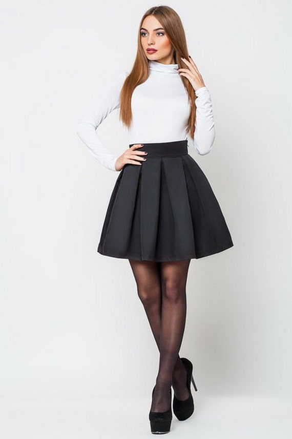 Nice cocktail skirt. Black short skirt with pleats. Flared skirt bridesmaids , skirt party Knee length skirt prom.
