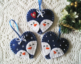 Snowman Ornament - Snowman Decor - Snowman heart - Felt Snowman - Felt Ornament - Christmas Ornament - Christmas Decor - Christmas gift
