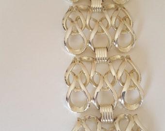 Vintage Big & Wide Silver Interlinking Bracelet Sarah Coventry 7 inch