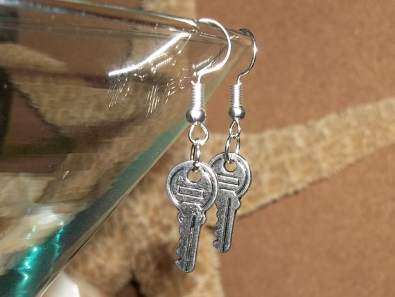 Key Silver Hand Crafted  Unisex Dangle Drop Earrings