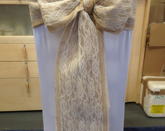Hessian and Lace Overlay Chair Sashes Pack of 50