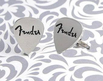 ON SALE Fender Pick Cufflinks Guitar Musician Rock Roll Music Gift