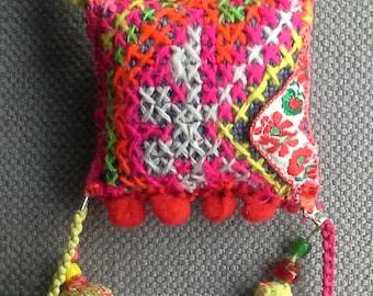 Colorful textile necklace/pendant. Bohemian spirit