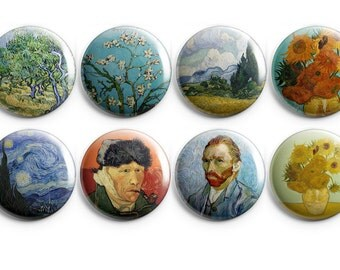 "Van Gogh buttons or magnets - 1.25"" Pinback Buttons - Van Gogh Starry Night - Almond Blossoms - stocking stuffer - gift under 10 (B008)"