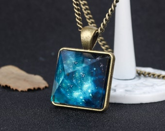 Glowing Necklace Blue Universe Necklace Bronze Necklace Chain Crystal Pyramid Necklace Glow In Dark Crystal Jewelry Christmas Gift