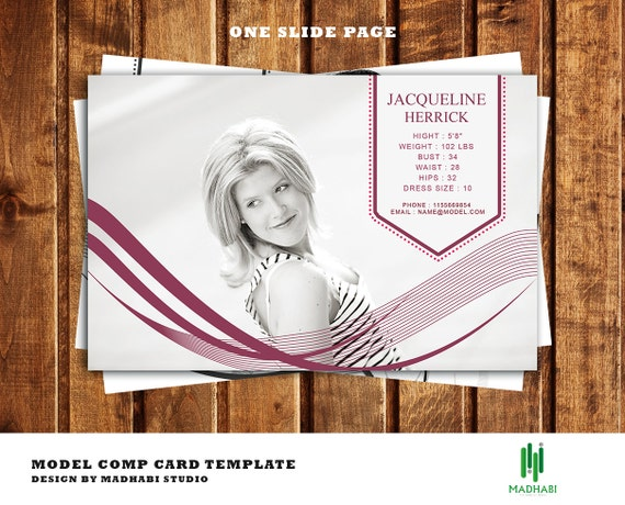 One page modeling comp card template model comp card for Free comp card template