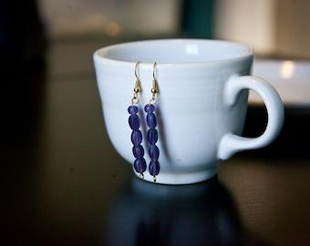 Dark purple bead earrings