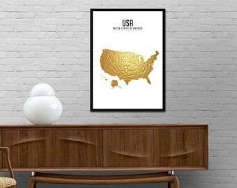 US Map Print Gold. USA Map Poster. Map Gold Print. United States Map Wall Art. Gold Wall Decor. US Map Gold Print. Map Drawing Gold Poster.