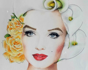 Marlyn Monroe lilies & roses hairstyle. Print from orignal