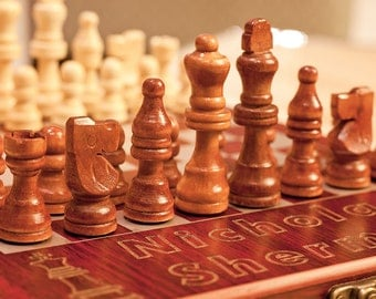 """Personalized Chess Set """"King +Knight"""", Custom Engraved Rosewood Travel Chess Board, Unique Gift for Birthday, Anniversary, Chess Players"""