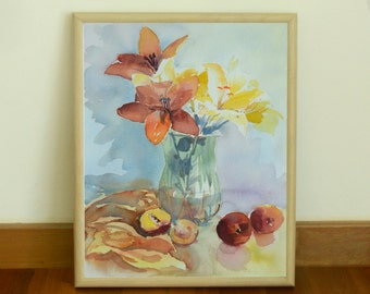 Colorful Still Life, Watercolor Original painting on Arches Paper (Title: On the Table)