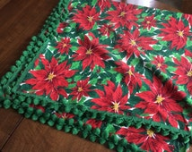 Vintage Christmas Tablecloth~Red Poinsettias Holly GREEN BALL FRINGE~Holiday Linens~ Kitchen Textile~60 x 57~Fabric~1960's~Kitschy Retro Fun