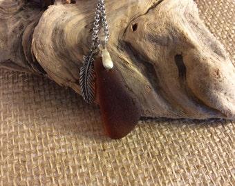 Luminous brown sea glass necklace