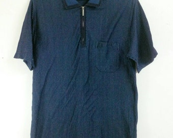 Celine Homme Striped Zip Pocket Polo Shirt