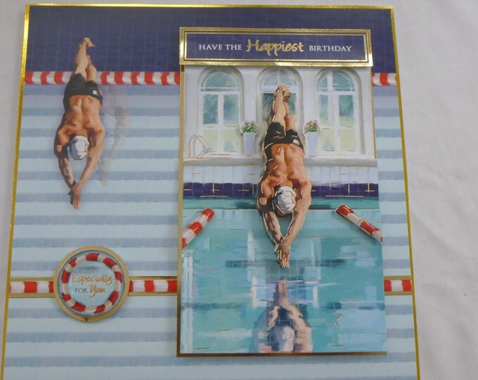 3 D Decoupage, Birthday Card, Greeting Card, Swimmer, Diver, Male, Any Age, Father, Son, Brother, Uncle, Nephew