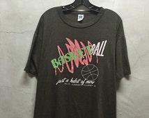 vintage t shirt, 80s, Basketball habit, dark heather brown, faded, distressed, worn, soft, thin shirt, 50 50 cotton poly, XL