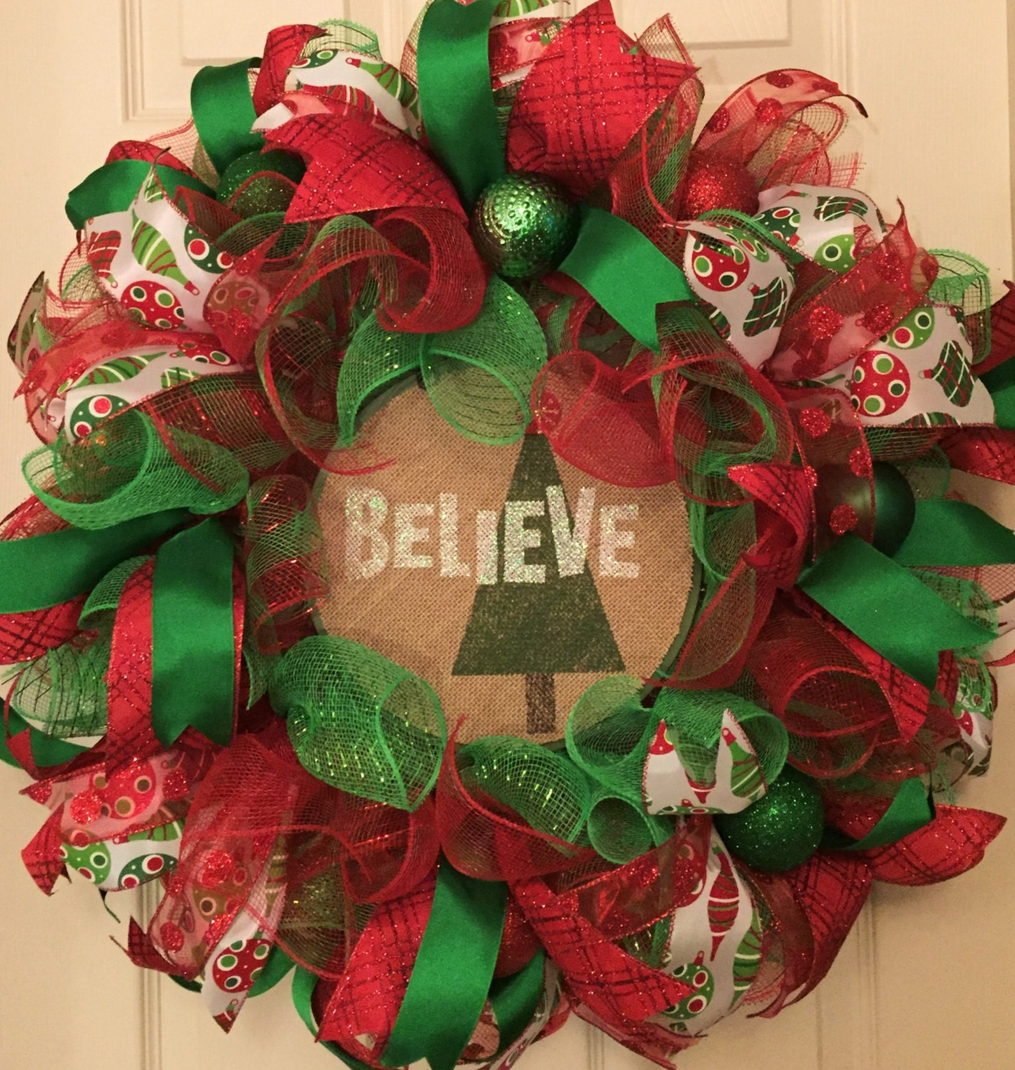 Believe Ruffle Mesh Christmas Wreath Holiday Wreath Deco