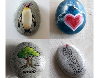 Custom gift // Personalized Travel Stone // Custom made farewell git // Gift for traveler // Custom painted stone // Personal talisman