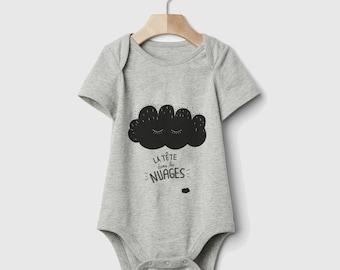 Body grey unisex cloud, screenprinting by BlackSnaps 100% cotton