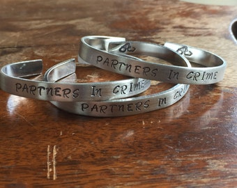 "Partners In Crime - 3-Piece Matching Set | Distressed Cuff Bracelet Personalized Jewelry Hand Stamped 1/2"" Brushed Texture"