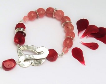 Red coral silver bracelet and cherry quartz