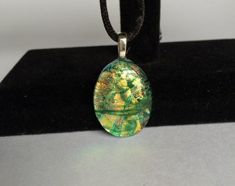 Green and Gold Dichroic Glass Fused Oval Pendant