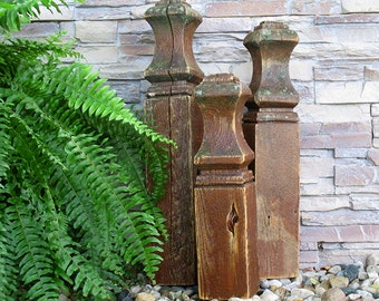 Rustic 17 inch Tall Finial Reclaimed Wood Finials Country Folk Art Outdoor Decorative Architectural Sculpture