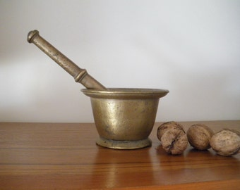 French Vintage Bronze Pestle And Mortar/ Apothecary