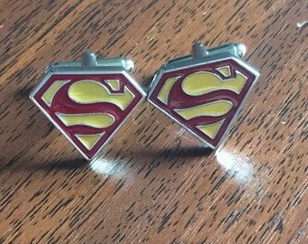 Superman Cufflinks,Superman gifts, Mens gifts, Silver cufflinks, Superman, superman cufflinks, super hero, Father's Day Gift Ideas