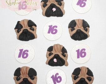 12x Edible Pug Dog & Age Fondant Cupcake Toppers