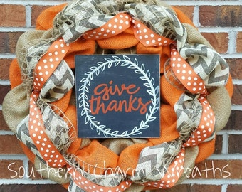 "18"" Burlap ""Give Thanks"" Thanksgiving  Wreath"
