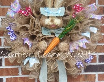 Burlap Mesh Peter Cottontail Blue Bunny Easter Wreath