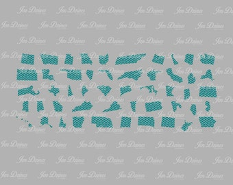 50 states svg, chevron state svg, outlines states svg, states digital files, United States svg, Cricut Silhouette cut file svg cutting files