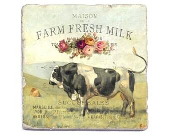 Stone Coasters Set of 4 Botticino Natural Tumbled marble Farm Fresh Milk