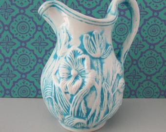 Perfect Pitcher/Creamer/Vase, Small Ceramic Pitcher, Blue U0026 White Ceramic Vase,
