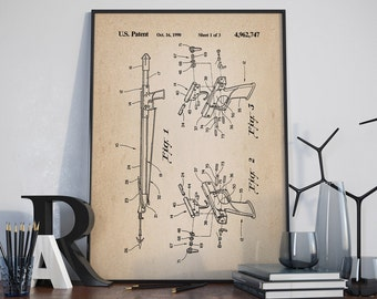 Fishing Harpoon Patent, Fishing Patent, Nautical Decor, Room Decor, Patent Poster - DA0127