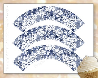 Lace cupcake wrapper (INSTANT DOWNLOAD) - Lace cupcake holder - Wedding cupcake wrappers - Navy cupcake wrappers