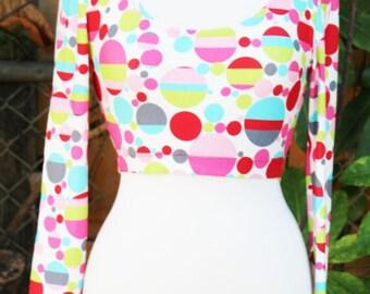 Crop multi-color polka- dot  top