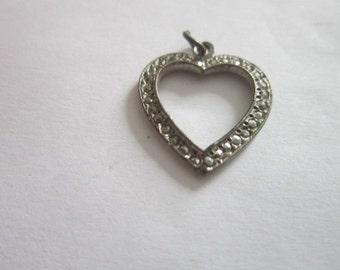 Antique Silver Tone & Marcasite Heart Charm Pendant