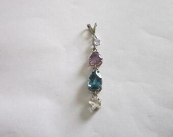 Vintage Sterling Silver & Semi Precious Stones Necklace Pendant.