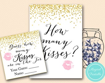How many Kisses Sign, Guess how many Kisses there are in a jar, Gold Confetti Bridal Shower, Bachelorette, Gold Bridal Shower BS46