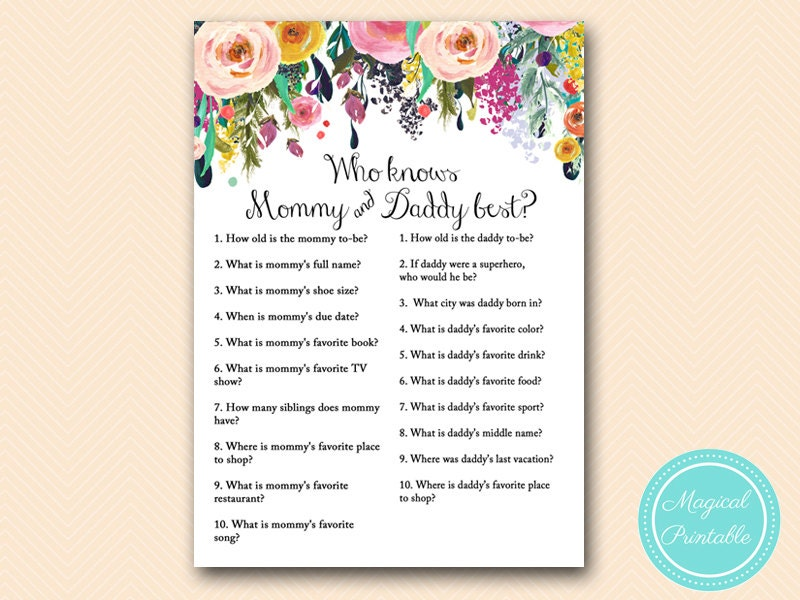 who knows daddy best mommy best co ed baby shower game