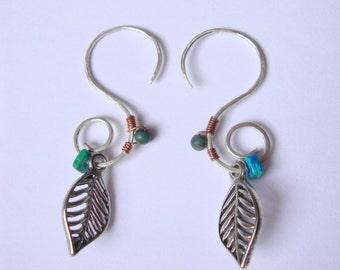 SOLD Sterling silver pixie leaf earrings