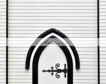 Church Door Black & White - Instant Art - Printable Art - Digital Download - Photography Overlay - Graphic Design - Architecture Photograph