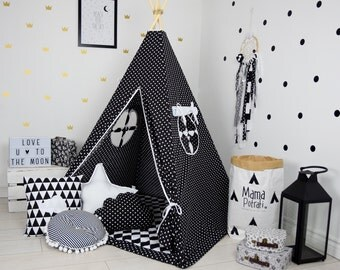 Childrens teepee Playtent Tipi Play Teepee Zelt Wigwam Kids Teepee Tent Teepee with Mat- Scandi Love
